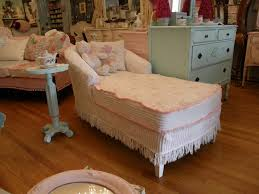 shabby chic chaise lounge slip covered with vintage chenille and roses  fabrics living-room