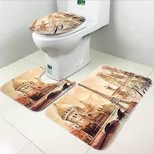 3pcs soft paris style contour pedestal rug lid toilet cover bath carpet mat set