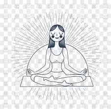 Icon Of Meditation Girl In Yoga Lotus Pose Stock Vector Image