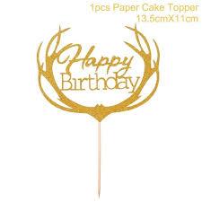 1pc Gold Happy 30th Birthday Cake Topper Happy 40 50 60 Paper
