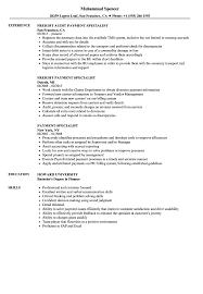 Payment Specialist Resume Samples Velvet Jobs
