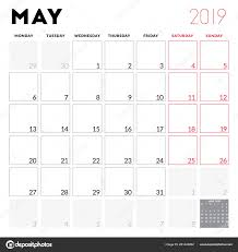 Calendar Planner May 2019 Week Starts Monday Printable Vector