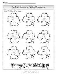 St. Patrick's Day Printouts from The Teacher's Guidest. patrick's day worksheet Two Digit Subtraction Without Regrouping