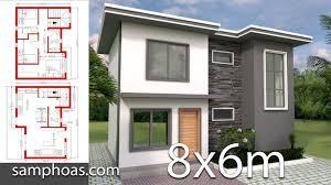 Plan 3D Home Design 8x6m with 3 Bedrooms - SamPhoas Plansearch  #kitchendesign6mx6m #kitchendesign6x8 | Small house design plans, House  plans, Small house design