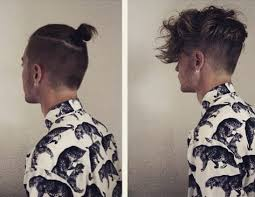a before and after picture of a male with a man bun undercut hairstyle aka topknot