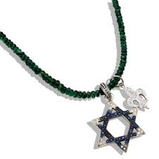 star of david fleur de lis on emerald necklace lazaro soho