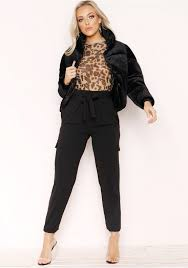 Wendi Black Velvet Puffa Coat Missy Empire