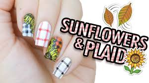 Sunflowers & Plaid Nail Art | MoYou London Stamping - YouTube