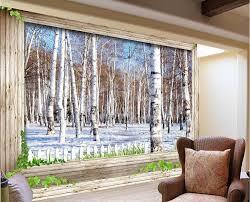 3d Tv Achtergrond Van Sneeuw Berken 3d Kamer Behang Landschap Custom