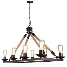 rectangular chandelier farmhouse light fixture hemp rope 8 light lightingmust