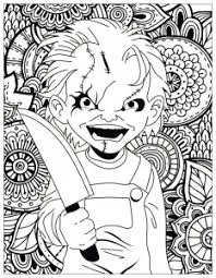 Scary Doodle Halloween Halloween Adult Coloring Pages