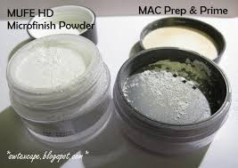 make up for ever hd microfinish powder and mac prep and prime powder