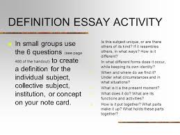 definition essay activity in small groups use the questions see  1 definition essay