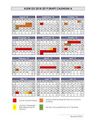 District Calendar Options Presented For 2018-19 School Year - Klein ...