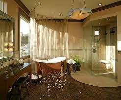 ceiling hung shower curtain mirror lamps big window stools storage item mediterranean bathroom hanging lamp ceiling