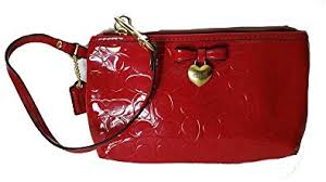 Coach Peyton Embossed Patent Leather Medium Wristlet Red