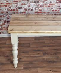 Kitchen Table Farmhouse Style Scrub Top Stripped Pine Reclaimed Wood Kitchen Dining Table Rustic