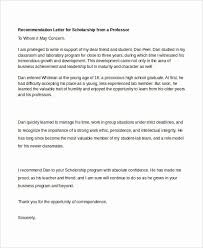 Scholarship Recommendation Letter Sample Sample Recommendation Letter For Scholarship