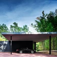 Photo Of A Modern Detached Carport In New York.