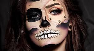 get the look half skull makeup tutorial