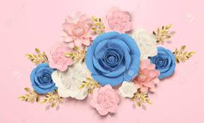 Pink Paper Flower Decorations Elegant Paper Flowers Decorations On Pink Background In 3d Illustration