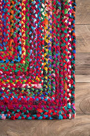 nuloom handmade casual cotton braided area rugs 3 x 5 multicolor