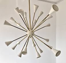 oval brass sputnik chandelier 24 lights ivory shades in the stilnovo style