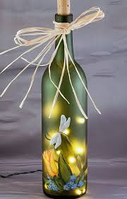 Decorative Wine Bottles With Lights Lighted Wine Bottle Hand Painted Tulip and Dragonfly Gifts 2