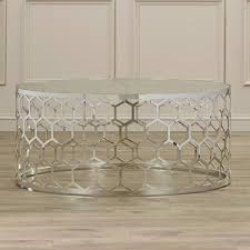 round honeycomb design glass coffee table