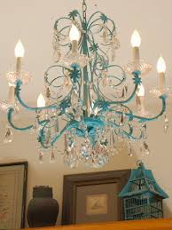 spraypainted turquoise chandelier makeover