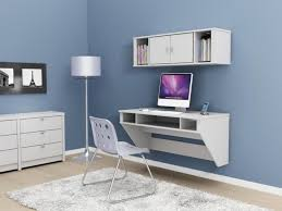 image of wall mounted computer desk and hutch