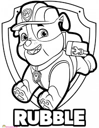 Paw Patrol Rubble Coloring Page Design Templates