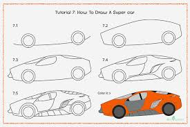 car drawing easy step by step. Brilliant Easy How To Draw A Supercar With Pictures Throughout Car Drawing Easy Step By