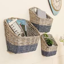 set of three nautical wicker wall storage baskets