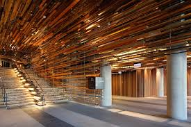 This fragmented wooden installation, developed by Australia-based firm  March Studio, is a beautifully textured ceiling and staircase design  located in the ...
