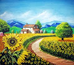 it is a very beautiful painting full of colours it shows nature in a soothing way it is a sunny day and sunflowers are facing the sun