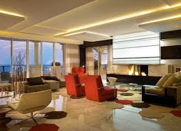 ... Sizzling living room ceiling is illuminated in warm hues