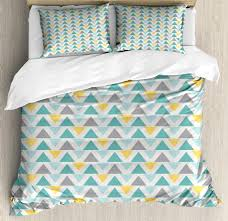geometric duvet cover set chevron lines with triangle pattern zigzag retro inspirations abstract decorative bedding set with pillow shams seafoam yellow