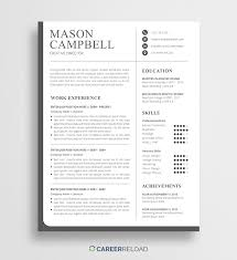 Free Modern Resume Template Mason Career Reload