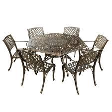 contemporary modern 7 piece aluminum bronze hexagon outdoor dining set with lazy susan and 6