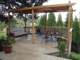a backyard pergola with a deck