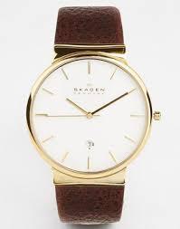 <b>Часы</b> с кожаным ремешком и золотистой отделкой <b>Skagen</b> ...