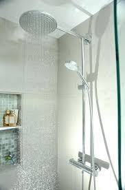 hansgrohe shower system brushed nickel shower system with rain shower head multi function hand shower and