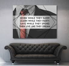 office wall art. Work While They Sleep Canvas Motivational Inspirational Wall Art (Wooden Frame Ready To Hang) Office W