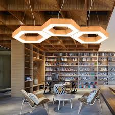 modern decorative led chandelier hexagon shaped down lighting led pendant fixture metal high performance 24w