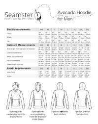 Avocado Mens Hoodie Measurements Avocado Man Sewing