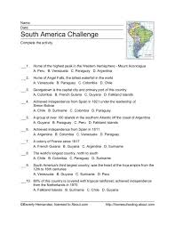 South America Challenge Worksheet for 4th - 5th Grade | Lesson Planet