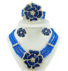 3 layer blue beads jewellery set with brooch pendant necklace earring bracelet ring beautiful design blue prestigeapplause jewels