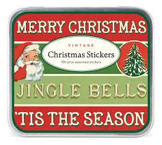 Cavallini Co Tis The Season Tin Of Christmas Stickers