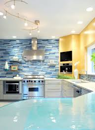 Blue Glass Tiles Kitchen Kitchen Mosaic Style Of Kitchen Backsplash Using Glass Tiles And